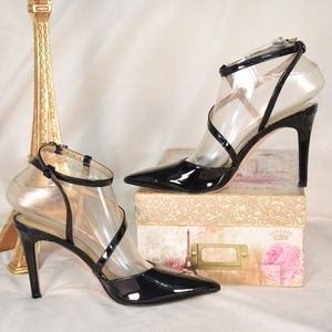 NINE WEST Patent Leather Black Strappy Sexy Heels